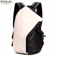 Personality Dumpling Shape Patchwork Color Preppy Style Leather Backpack For Men Trendy School Men S Travel