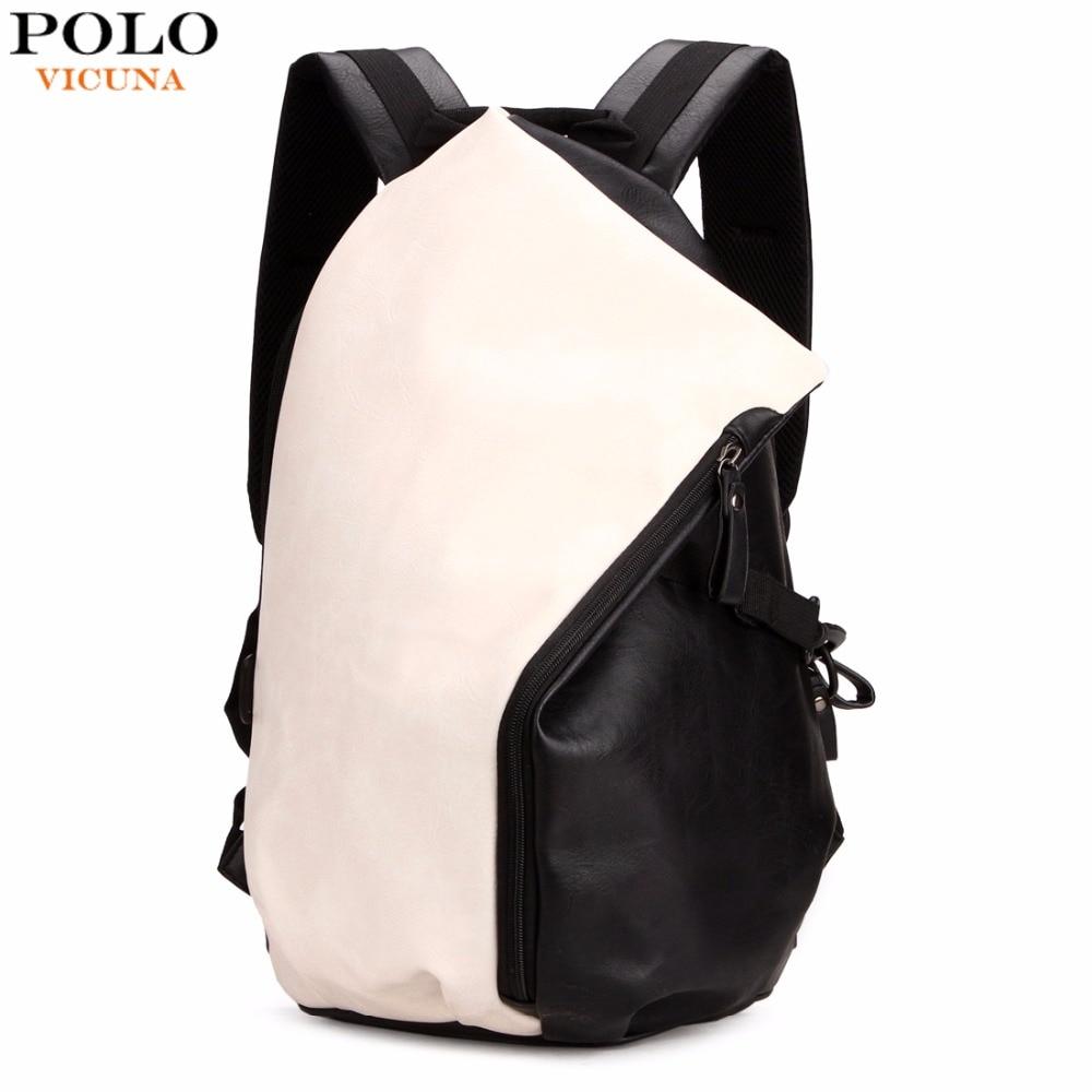547c3479be9 VICUNA POLO Dumpling Shape Patchwork Color Preppy Style Leather Backpack  For Men Trendy School Men s Travel Backpack Man Bag