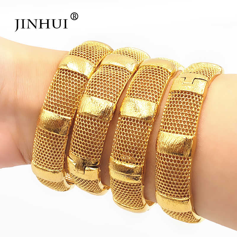 Jin Hui New Fashion Luxury Gold Color Jewelry Bangles for Women Ethiopian Bracelets Middle East African Party wedding Gifts