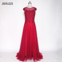 JIERUIZE Burgundy Lace Appliques Pearls Evening Dresses Long Cap Sleeves Formal Dresses Mother of the Bride Dresses Plus Size