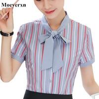 Fashion Korean Style Women Shirt Short Sleeve Patchwork Office Formal Ladies Blusas Feminina White Blue Color