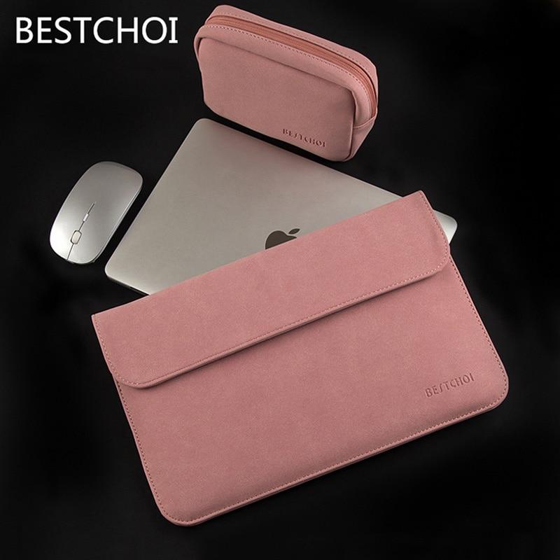 New Women Men Matte Leather Laptop Sleeve Air Pro 13 15 Bag Case For Hp Dell