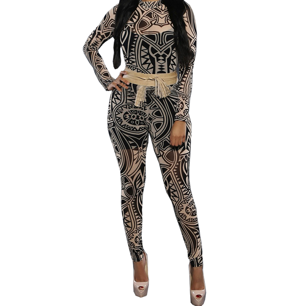 Women Jumpsuits Leotard Rompers Tribal Tattoo Printed Dumpsuit Sexy Bodysuit Long Sleeveless Playsuit