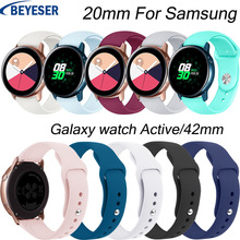 20mm Silicone bands For Samsung Galaxy Watch Active/42mm strap for Samsung gear S2 sport classic replacement bracelet watchband 20mm width silicone strap for samsung galaxy watch 42mm band for samsung gear sport gear s2 classic sm r7320 silicone watchband