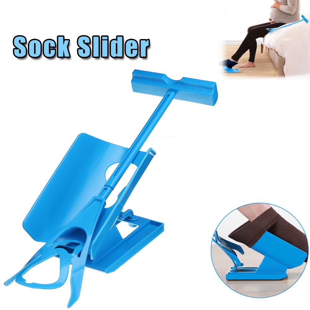 1pc Sock Slider Aid Blue Helper Kit Helps Put Socks On Off No Bending Shoe Horn Suitable For Socks Foot Brace Support