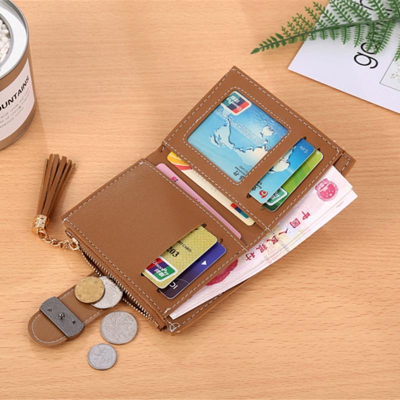 High quality female wallet 2018 new short women wallet Hot sale tassel mini lady travel card holder zipper purse Clutch Carteras 2