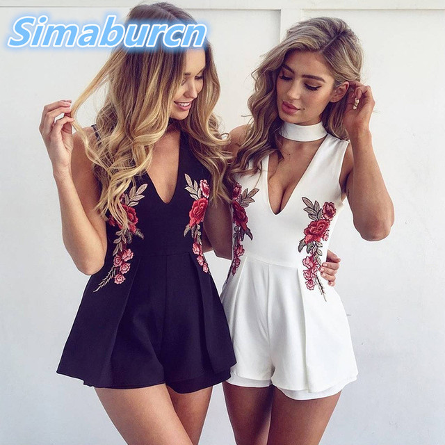 ba906dc149 Women White Black Rompers Jumpsuit Short England Style Jumpsuit Femme Open  Chest Strapless Sexy Embroidery Playsuits Feminino