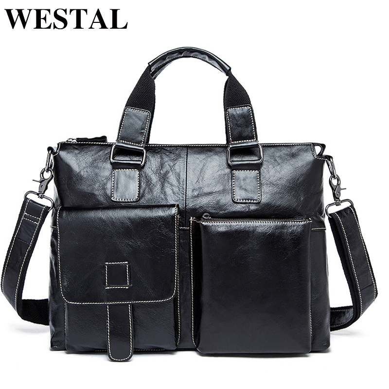 WESTAL Men Briefcases Genuine Leather Men's Bag male business Computer Laptop Bags Crossbody Bags Messenger Bag Men Leather 260