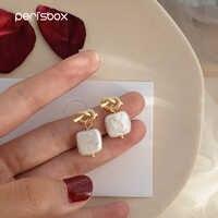 Perisbox Simple perlas de agua dulce Natural cuelgan Pendientes para mujeres barroca nupcial anudado Pendientes Mujer Moda 2018