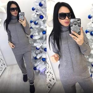 Image 4 - Autumn winter Knitted tracksuit Turtleneck sweatshirts Fashion Women Suit clothing 2 Piece set Knit pant Female Sporting suit