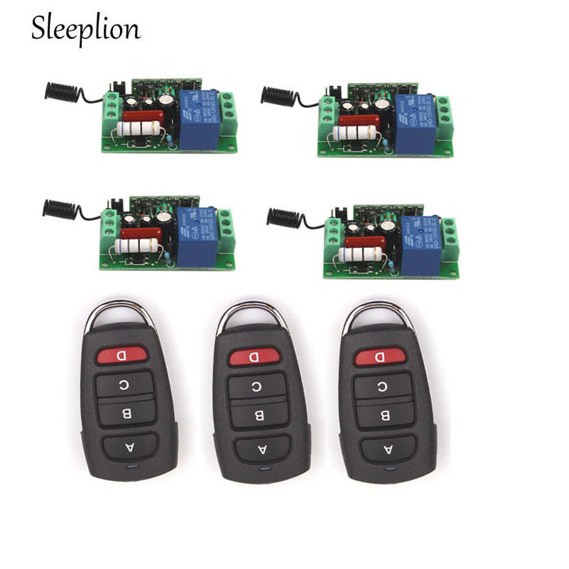 Sleeplion Home 220V 10A 1CH Relay 315MHz 433MHz 3 4 car key wireless RF Control Switch