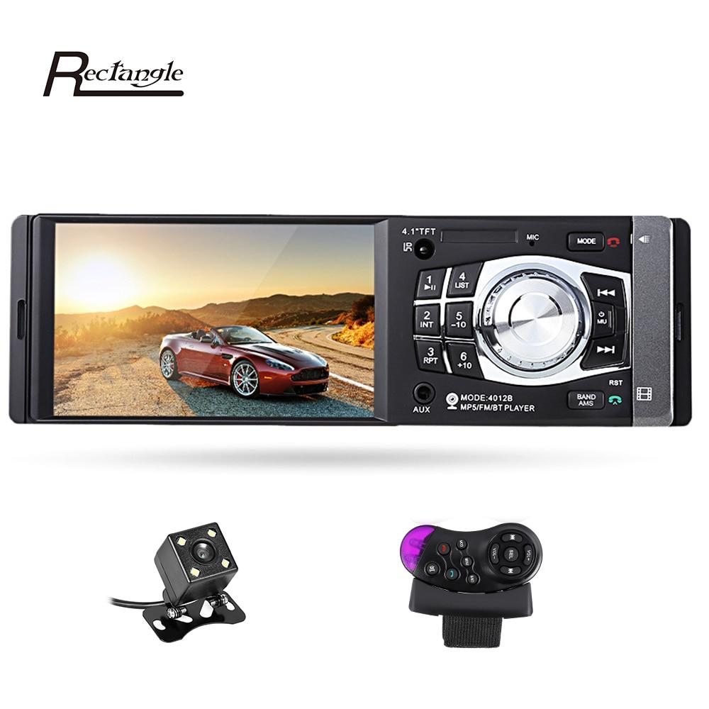 4012B 4.1 pollice 1 Din Car Radio Auto Audio Stereo FM Bluetooth 2.0 Supporto Videocamera vista posteriore USB Volante di Controllo Remoto
