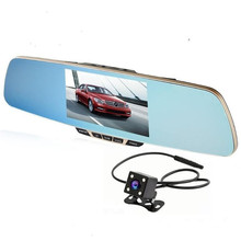 New 5.0 inch top grade car dvr dual camera rear view mirror car camera recorder full hd 1080p night vision mirror dvr Parking