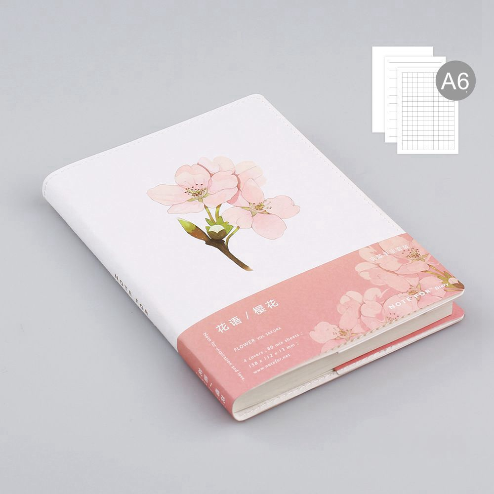 Note For Flowers Theme Creative Softcover A6 Journal Book 80 Sheets Blank+Squared+Lined Paper DIY Diary Planners Gift pink flamingo theme lined notebook b5 note book school office gift free shipping