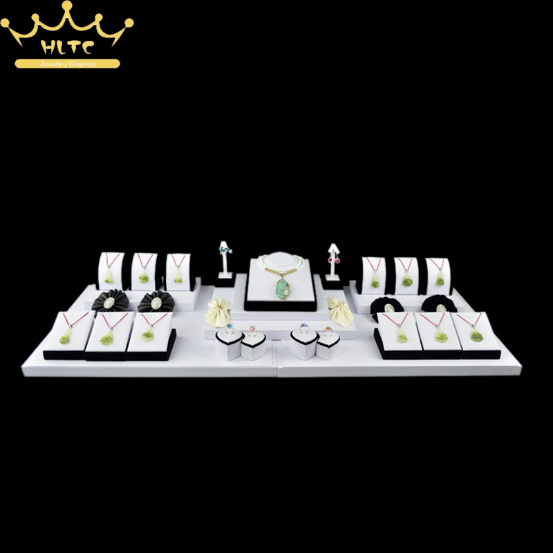 Jewelry Display White PU Leather Necklace Pendnat Stand Earring Holder Ring Jewellery Showcase Organizer Case 100*36*16cmJewelry Display White PU Leather Necklace Pendnat Stand Earring Holder Ring Jewellery Showcase Organizer Case 100*36*16cm