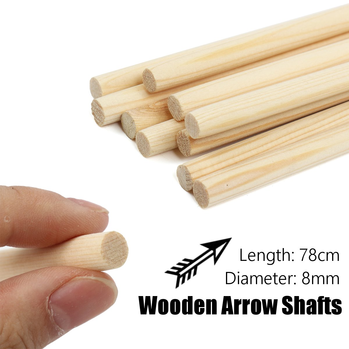 10Pcs/Set 8mm Wooden Archery Arrow Shafts 78CM DIY Handmade Bow Target Wooden Archery Arrow Shafts Outdoor Hunting Accessories