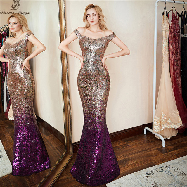 Poems Songs 2018 new Personality Backless Evening Dress vestido de festa Formal party dress Gold Long Sequin prom gowns