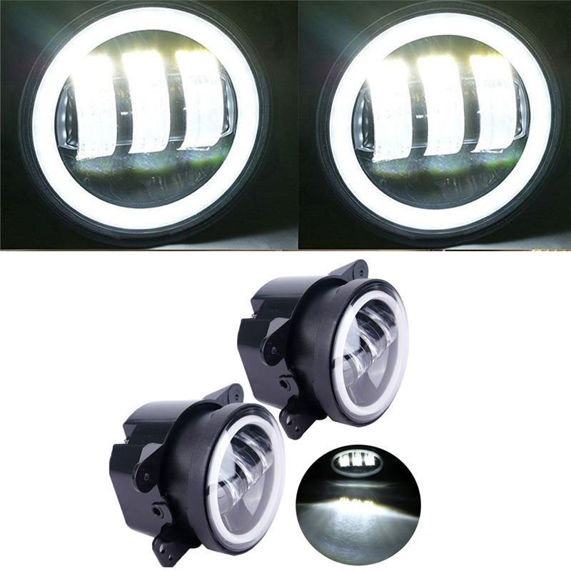Urbanroad 30W 4 Inch Round Led Fog Light Headlight Projector lens With Halo DRL Lamp For Jeep Wrangler for Harley Daymaker a pair 7 inch round led halo headlight daymaker drl with a pair 4 inch fog light angel eye for jeep wrangler jk hummer harley