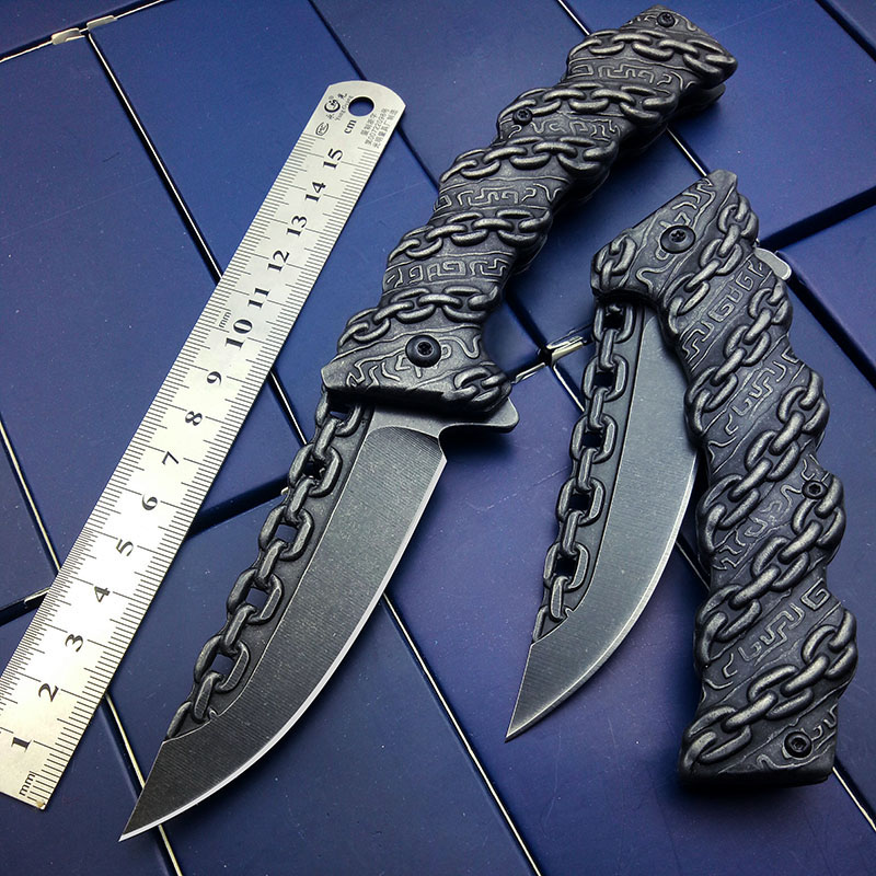 Tactical Knife Chain Engraved Survival Knife Camping Hunting Knifes Folding Blade Brithday Party Gift Free Ship Drop Shipping