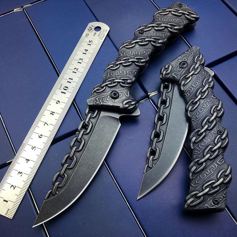Taktisches Messer Kette Gravierte Überleben Messer Camping Jagd Messer Klappmesser Brithday Party Geschenk Freies Schiff Drop Shipping