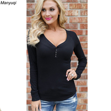 2017 solid female T-shirt long sleeves v neck top clothes casual slim women's t-shirts plus size 4xl