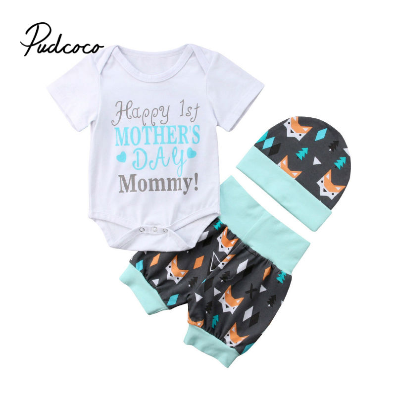 2019 Summer Baby Bodysuit 3pcs Baby Newborn Girl Happy First Mother Day Cartoon Romper+hat+shorts Outfit 0-24 Months