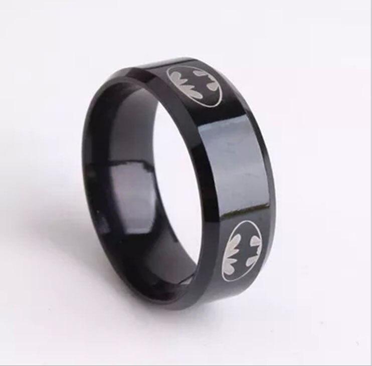 2015 Boys Men Black Batman Symbol Titanium Stainless Steel Rings For
