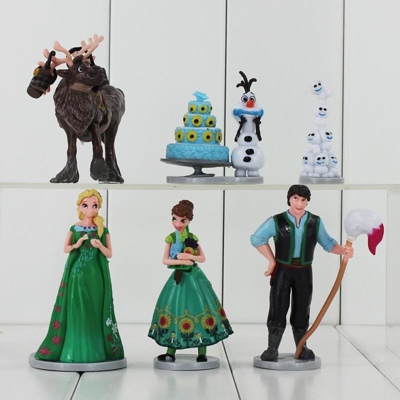 6-9cm New Anime Movie Cartoon <font><b>PVC</b></font> Princess Anna Elsa Olaf Hans Sven <font><b>Action</b></font> <font><b>Figure</b></font> <font><b>Toys</b></font> <font><b>Collectible</b></font> Gifts for Kids Kunai Pet