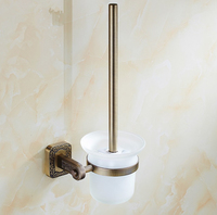 Classic Bathroom Accessories Antique Brass Finish DesignToilet Brush Holder WC Brush Set Construction Creative Carving Products