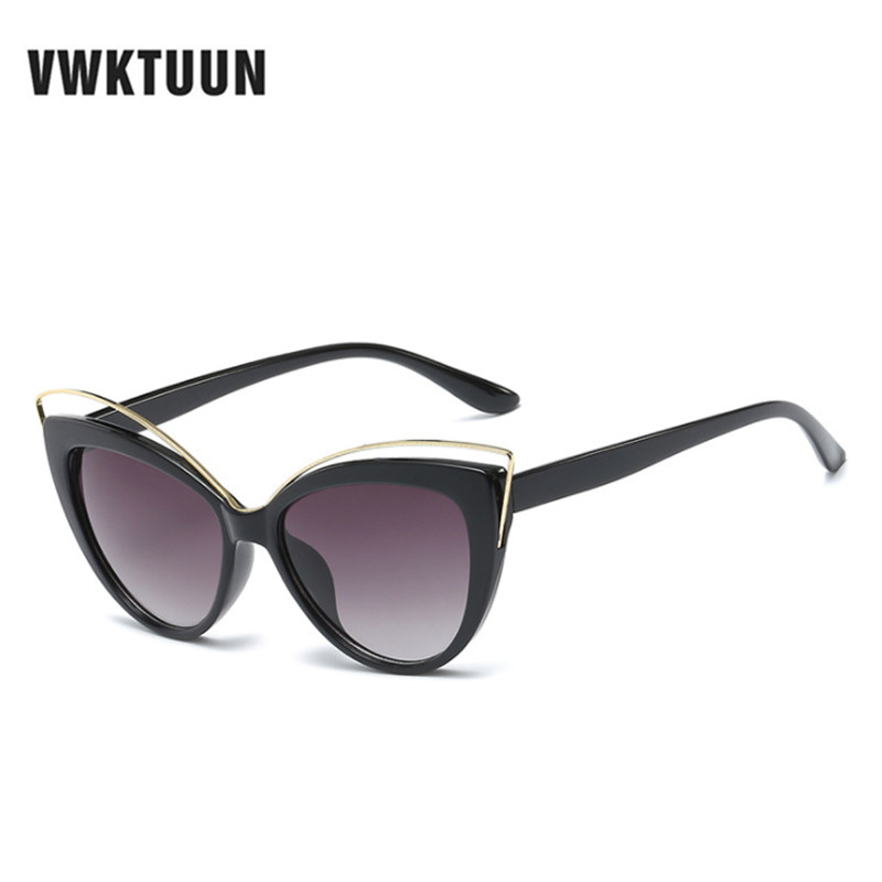 VWKTUUN Retro Cat Eye Womens Solbriller Mærke Designer Hollow Out Frame Cateye Points Solbriller For Kvindelige Oversized Oculos