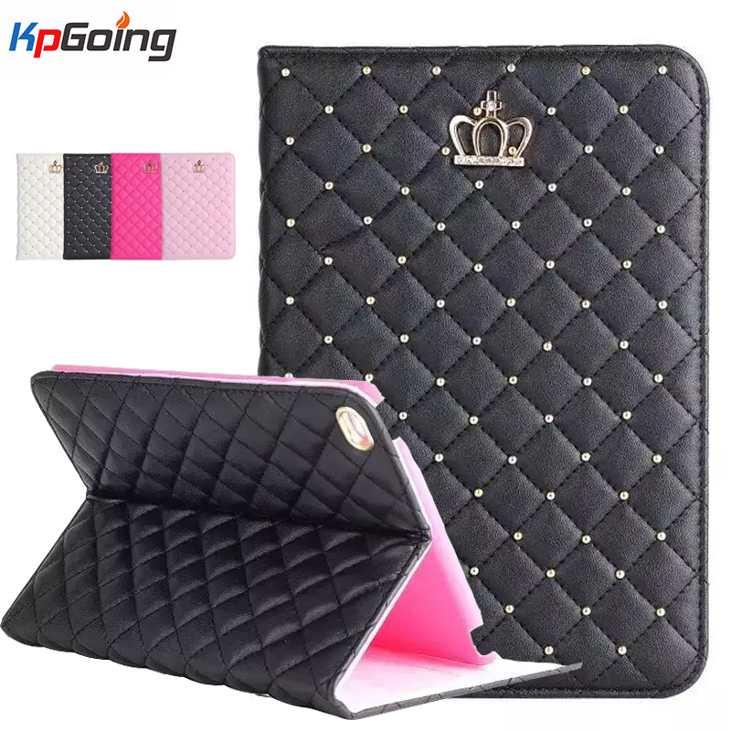 Crown Rhinestones Bling PU Leather Case for Ipad Air 2 Flip Stand Shell for Air 2 Case Cover Fashion Glitter Tablets Case Fundas leather crown повседневные брюки
