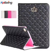 Crown Rhinestones Bling PU Leather Case for Ipad Air 2 Flip Stand Shell for Air 2 Case Cover Fashion Glitter Tablets Case Fundas