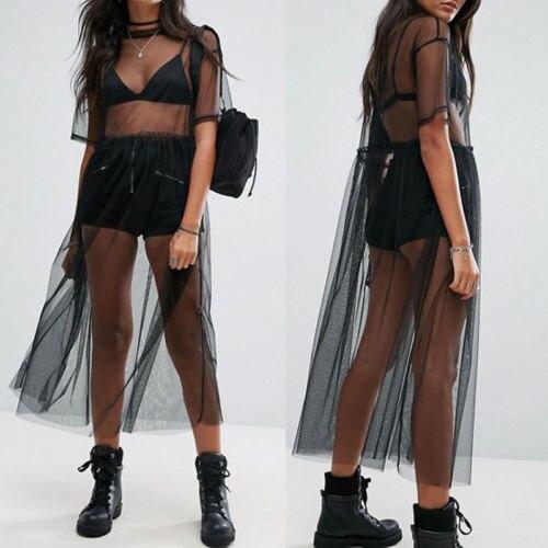 Модные женские платья, черное Сетчатое Прозрачное платье с коротким рукавом, прозрачное летнее платье из тюля