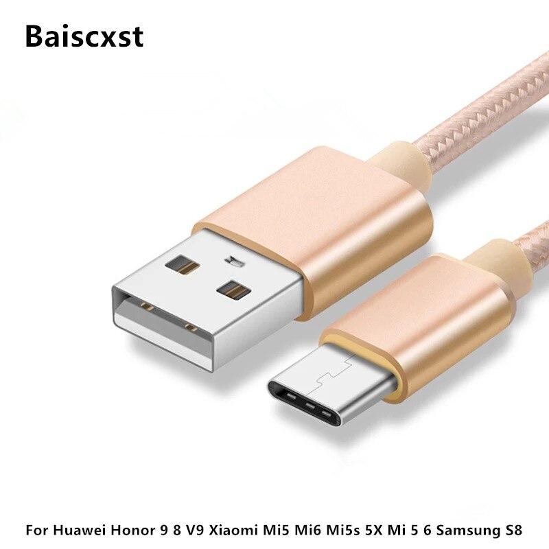 Nylon USB Type C Cable USB Type-C Cables For Huawei Honor 9 8 V9 Xiaomi Mi5 Mi6 Mi5s 5X Mi 5 6 Samsung S8 USB Type C Wire