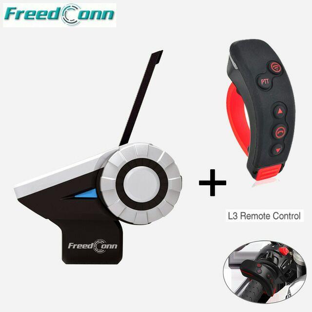 """""""Freedconn T-Rex + L3 1500M"""" 8 krypčių """"Full Duplex 8"""" motociklininkai """"Bluetooth"""" šalmo vidinės ausinės su nuotolinio valdymo pultu FM radijas MP3 GPS skambutis"""