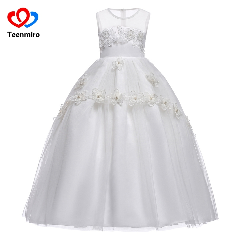 New Children Lace Appliques Pearl Flower Girls Dresses Kids Evening Gown for Wedding Party First Communion Pageant Dress Elegant 2018 new summer long elegant white flower girls dress kids baby teenagers first communion pageant girl wedding party dresses
