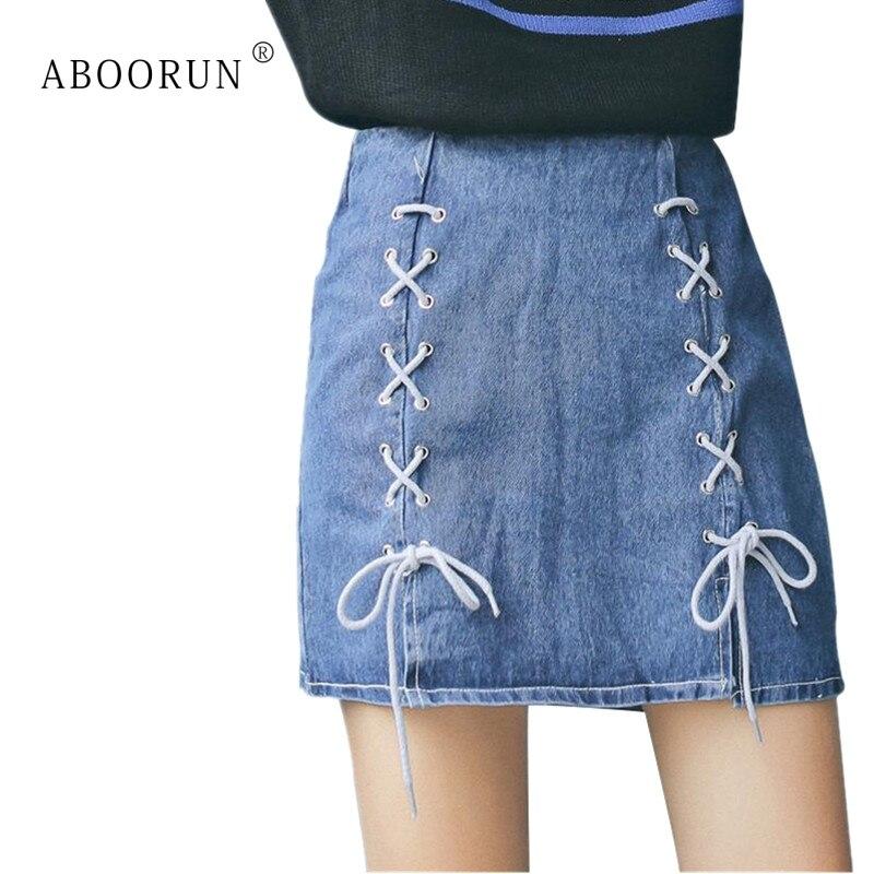 Vaqueros Alta De Blue Mezclilla Línea Mini Faldas Niñas X1957 Verano Aboorun Delgadas Wasit Una Para Coreanas Cordón Pantalones Mujer 7Ygqd