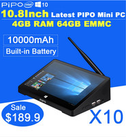 10.8 Touch Screen Tablet PC All In One Mini Computer PIPO X8 Windows 8.1 Bing Android 4.4 TV Box 2GB RAM 64G SS