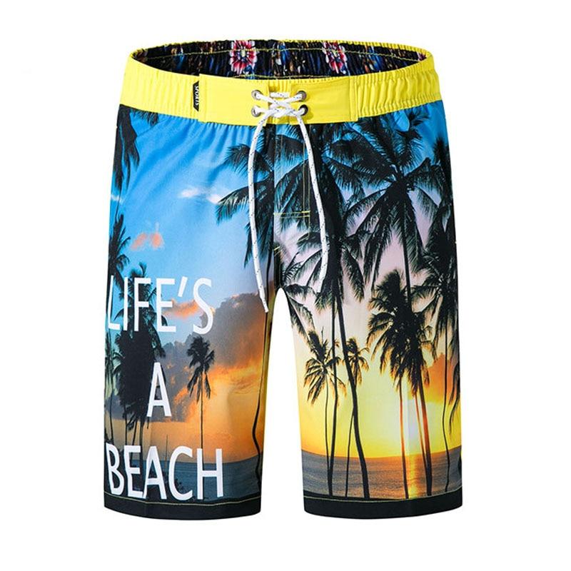 Гавайские мужские шорты, летние шорты с принтом в виде пальм, шорты с эластичной талией, быстросохнущие шорты бермуды, повседневные шорты|Шорты|   | АлиЭкспресс