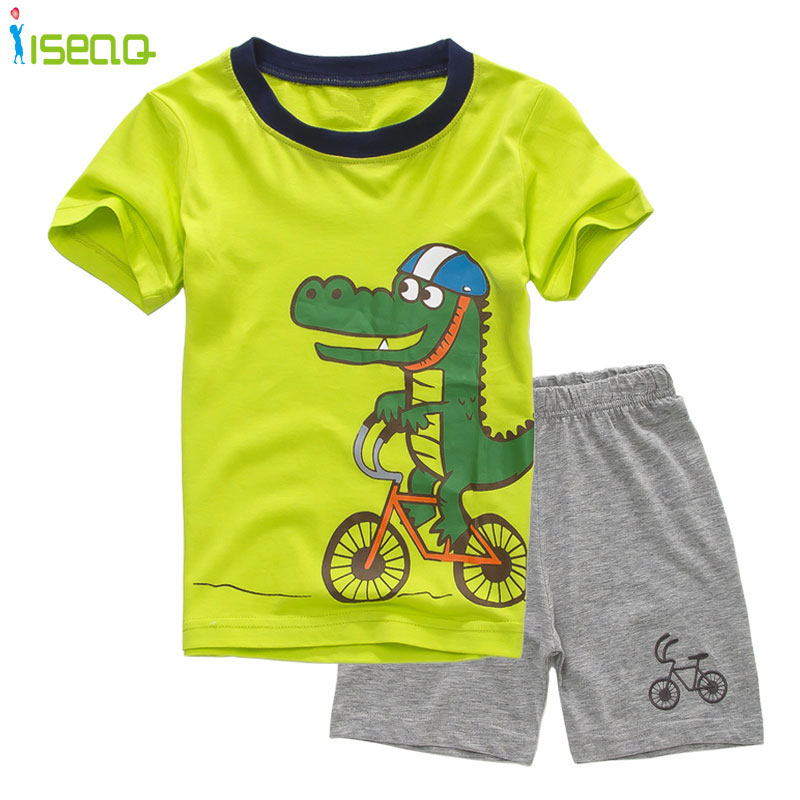 ISEAQ Children boys Summer Clothes set Kids Cotton clothing Suit Cartoon crocodile Printed Toddler Outfit T-shirt+shorts BSE068 2pcs children outfit clothes kids baby girl off shoulder cotton ruffled sleeve tops striped t shirt blue denim jeans sunsuit set