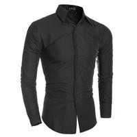 New Arrive 2015 Brand New TOP Mens Designer Dark Stripes Dress Shirts Tops Casual Slim Long