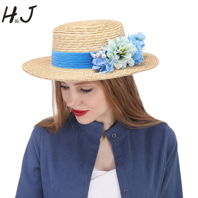 b385b862 Fashion Women Summer Wheat Straw Sun Hat Lady Beach Wide Brim Flat Boater  Hat With Handmade Blue Flower Size 56-58CM