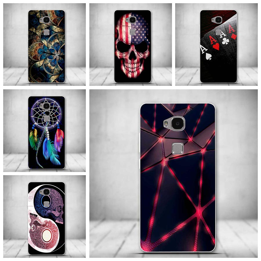 Fashion For Huawei Honor 5X Case Luxury Cartoon TPU Silicone Case For Huawei Honor 5X Soft Clear Back Cover Funda Coque Capa