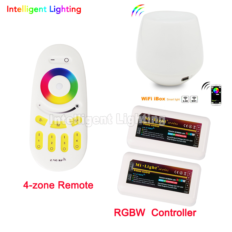 Free Shipping Remote+WiFi +2x RGBW LED Controller group control 2.4G 4-Zone Wireless RF Touch For 5050 3528 RGBW Led Strip Light milight remote wifi 4x rgbw led controller group control 2 4g 4 zone wireless rf touch for 5050 3528 rgbw led strip light