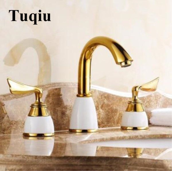 Basin Faucets Bathroom Sink Faucets 3 Hole Double Handle Hot & Cold Water Tap La cuenca del grifo with ceramic base