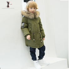 Down Coat Hooded Full Sleeve Parkas boys winter jacket Long Children Kids Warm Zipper Clothes Children2503