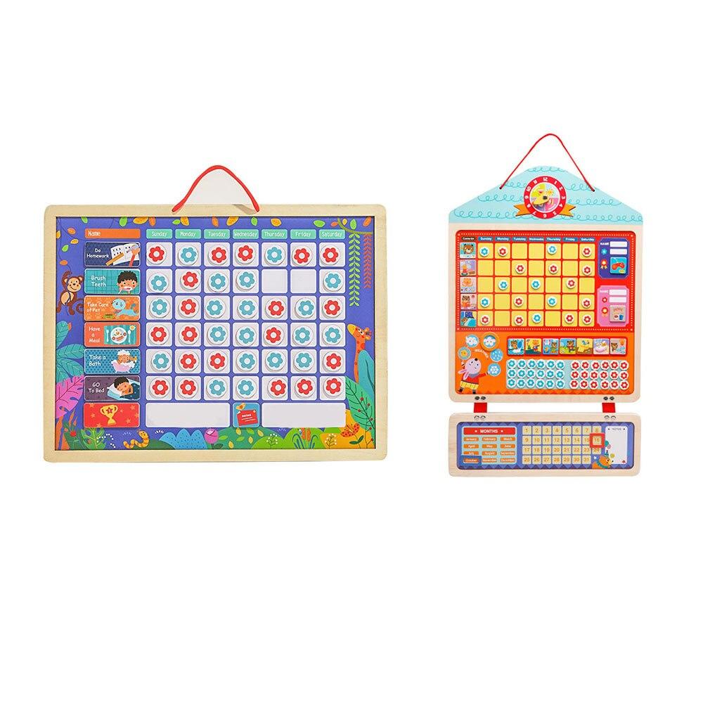 Wooden Magnetic Reward Activity Responsibility Chart Calendar Kids Schedule Educational Toys For Children Calendar Time Toys