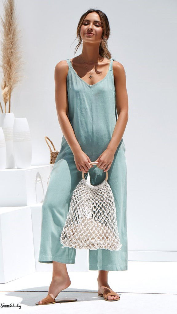 2019 Women Casual Summer V-Neck Sleeveless Jumpsuits Ladies Solid Loose Jumpsuit Backless Playsuits