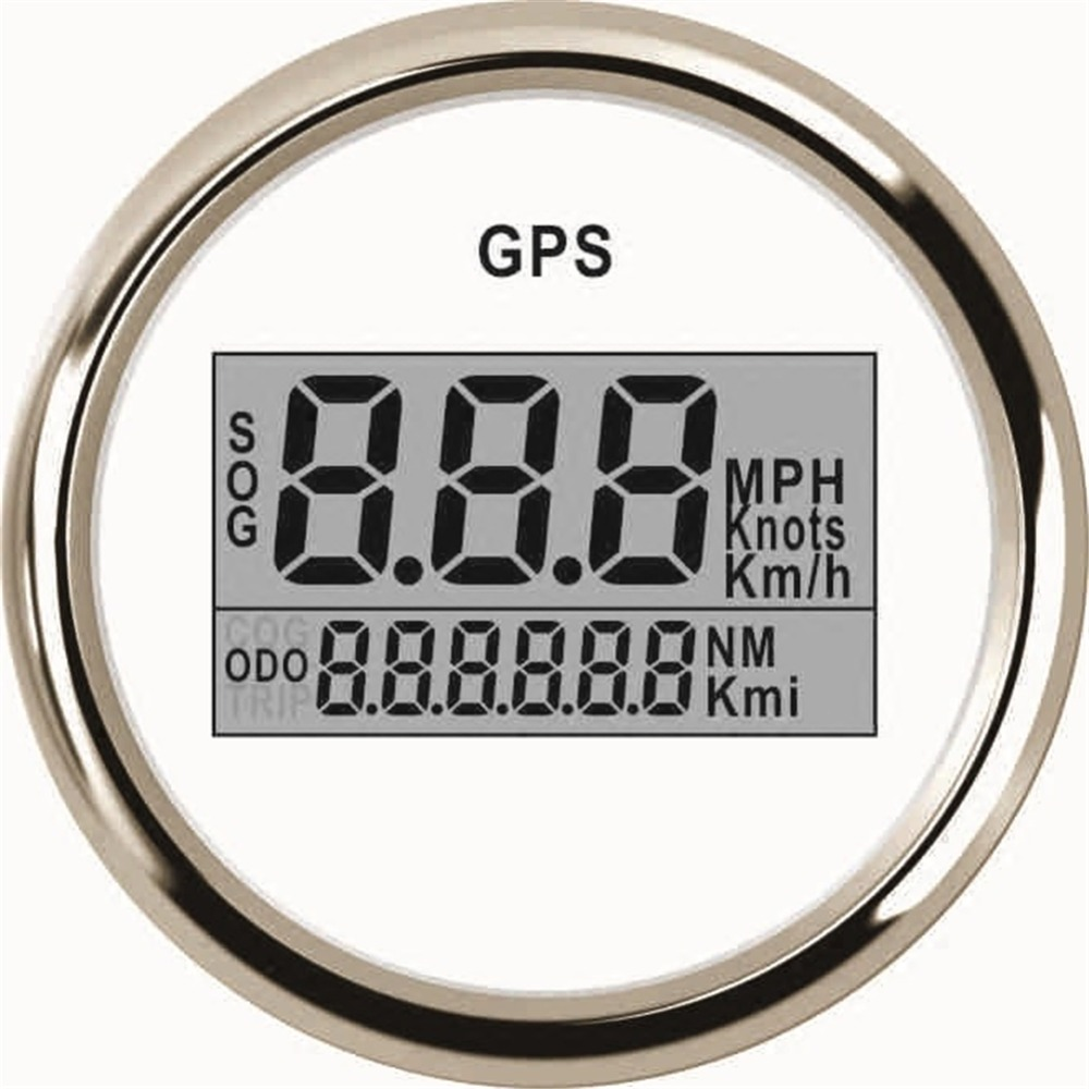 1pc 52mm digital gps speedometers auto odometers 9-32v gps speed mileometers with light and antenna fit for auto boat white 100% brand new gps speedometer 60knots for auto boat with gps antenna white color