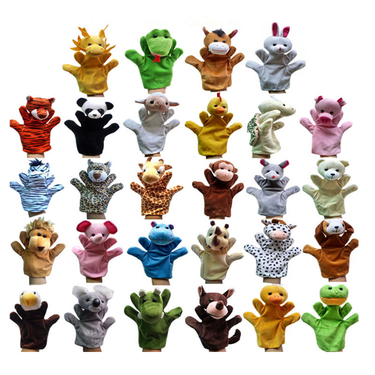 Wholesale 28pcs Set Animal Hand Puppets Stuffed Toy For Kids Lovely Baby Finger Doll Plush Toy